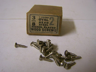 """#2 x 3/8"""" Oval Head Nickel Plated Steel Screws Slotted Made in USA  Qty. 135"""