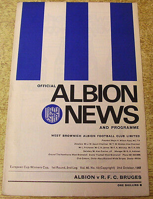 1968/69 CUP WINNERS CUP - WEST BROMWICH ALBION v R.F.C. BRUGES