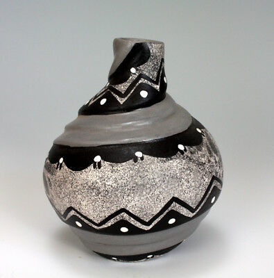Jemez Pueblo American Indian Pottery Black & Grey Vase - Felicia Fragua