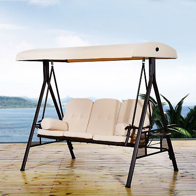 Outsunny Swing Chair Lounge Canopy Outdoor 3 Person Garden Balcony Furniture
