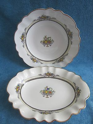 2 vintage George Jones CRESCENT & Sons SERVING BOWLS ALHAMBRA oval & round