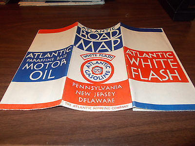 1930s Atlantic White Flash Pennsylvania/New Jersey/Delaware Vintage Road Map