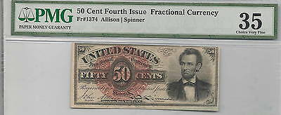 50 Cent Fractional Currency Fourth Issue FR 1374 : PMG 35