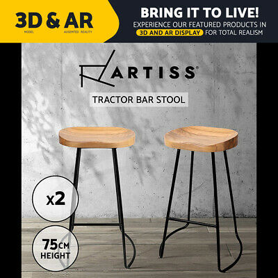 2x Vintage Tractor Bar Stool Retro Barstool Industrial Dining Chair 75cm Natural