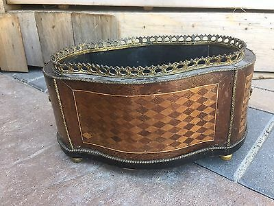 Antique Regency Marquetry Burl Wood Inlay Jardiniere Cache Pot Planter French