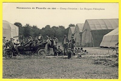 cpa RARE 60 - Ed. GRANDVILLIERS MANOEUVRES 1910 AVIATION HANGARS d' AÉROPLANES
