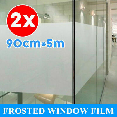 2X 90cm*5m Sand Blast Clear Privacy Frosted Frosting Removable Window Glass Film