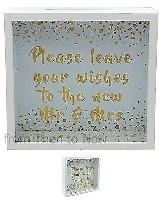 Leave Your Wishes New Mr & Mrs Wedding Memory Keepsake Drop Box Guest Book Post