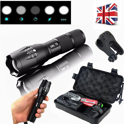 Rechargeable Torch T6 LED Zoomable 18650 AAA Flashlight Light Lamp+ UK Charger