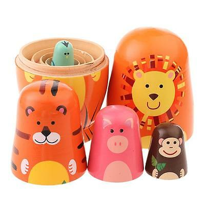 Hand Painted Wooden 5 pcs Animal Design Russian Doll Matryoshka Kids Gift