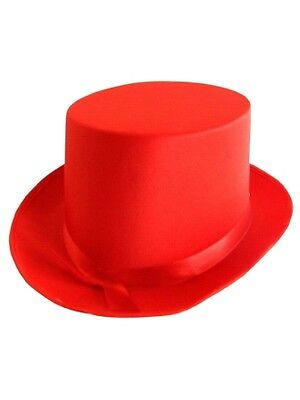 Top Hat Satin Hat Red 59cm Fancy Dress Accessory