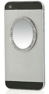 iDecoz Selfie Mirror Oval in Silver w/ Crystals Phone Cases Tablets Laptops