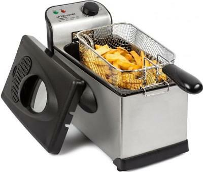 Andrew James Deep Fat Fryer Easy Clean Stainless Steel & Black Compact 3L