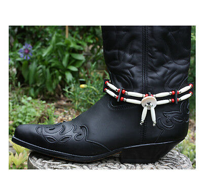 Native American indian style handmade bone hair pipe biker boot straps chokers