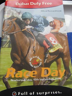 AUTHORIZED DEBUT RACE CARD Newbury 15th Sept 2006 (Derby Winner)