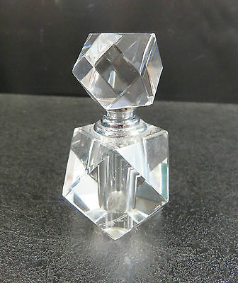 "Clear Crystal Perfume Bottle With Screw Top Lid 3"" High"