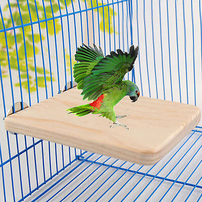 Wooden Parrot Bird Cage Perches Stand Platform Pet Parakeet Budgie Rat Pet Toys