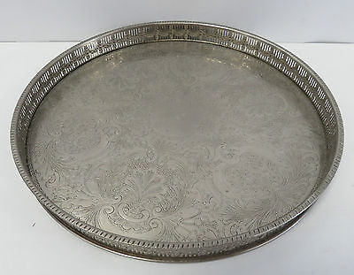 "Towel Handcrafted Silver Plated On Copper Round Gallery Tray 12"" Diameter"