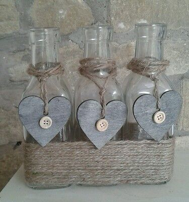 Shabby Chic Decorative Bottles/Bud Vases/Candle Holders Jute/Grey Wooden Hearts