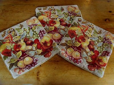 Set Of 3 Beautiful Vintage Needlepoint Fruit Tapestry Cushion Covers