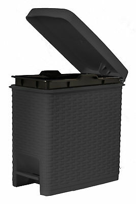 Superior Performance Rattan Style Slim 1.63 Gallon Step On Trash Can