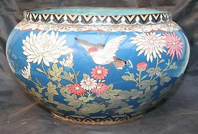 Antique Japanese Large Cloisonne Bowl Planter Cache Pot