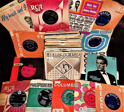 "Vinyl Records Singles Big Job Lot 50's 60's Vintage Collection 7"" Ep's 45's"