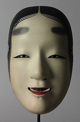 Japanese signed  Noh Mask depicting Wakaonna young girl character  I86
