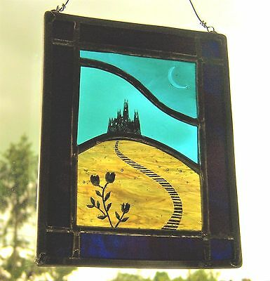 Gothic Castle Stained Glass Leaded Painted Panel Hanger