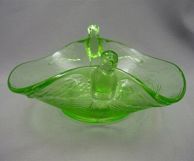 Vintage Depression Vaseline Uranium Glass Parrots Candy Bowl Serving Dish Birds