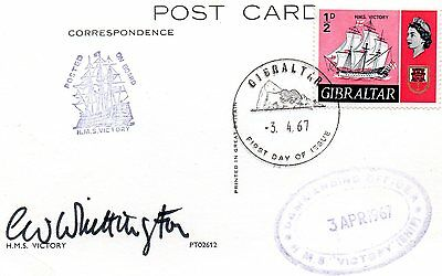 Gibraltar - H.m.s. Victory On A Card With A First Day Of Issue Cancel