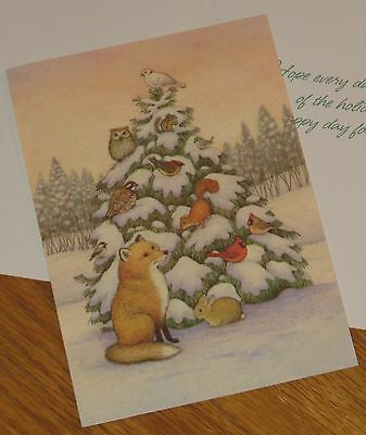 Forest Animals Christmas Tree Juli Koontz Artwork vtg 4ct Hallmark Cards PX304-3