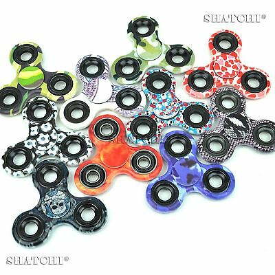 12 Printed Camo camouflage tri spinner Fidget Hand UK Seller Party Bag Fillers