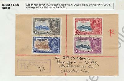 Gilbert & Ellice Is 1935 Silver Jubilee Set On Reg.cover To Australia(See Below)