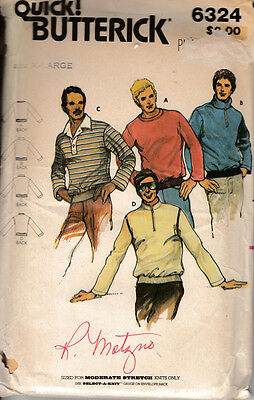 Vintage Quick Butterick Mens Pull Over Shirts Size X-Large