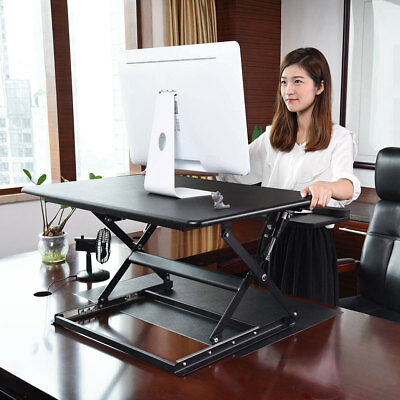 Ergonomic Height Adjustable Computer Desk Sit-Stand Monitor Riser Desktop Lift