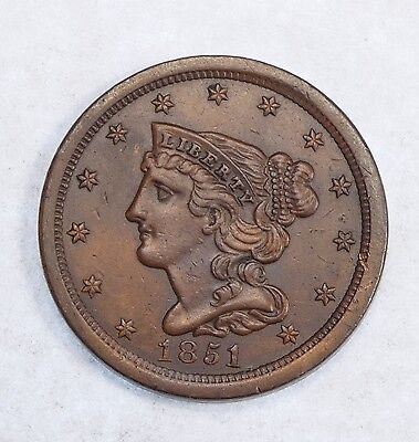 1851 Braided Hair Half Cent ALMOST UNCIRCULATED 1/2c