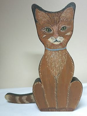 """Flat Wood Cat Figure With Movable Tail 6.5"""" Plus Tail"""