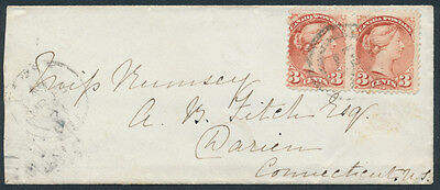 1871 Ingersoll to USA, 6c Letter Rate, Pair #37a 3c Small Queen, 2-Ring 27