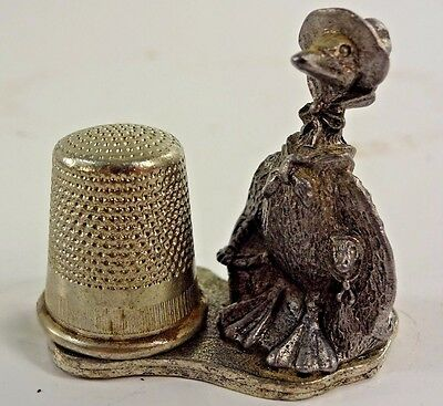 VTG - Mother Goose 1970 Metzke Pewter thimble with Magnetized Thimble Holder