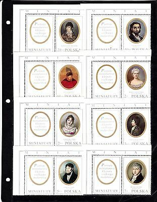 Poland #1748-1755 + Labels Mnh Miniature Portraits Of Famous Poles