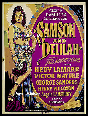 CECIL B. DeMILLE'S - SAMSON AND DELILAH 1949 PARAMOUNT 30x40 MOVIE POSTER! MINT!