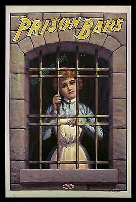 PRISON BARS 1901 Movie Poster BARNSDALE'S ELECTRIC MOVING PICTURE CO Documentary