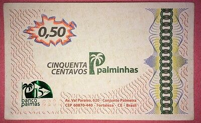 BRAZIL BANKNOTE** 50 CENTAVOS BANCO PALMAS** COMMUNITY CURRENCY** aUNC