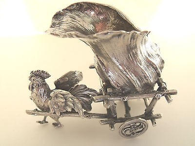"German ""800"" silver rooster pulling a cart"