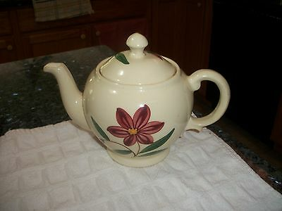Blue Ridge Southern Pottery Red Starflower Teapot
