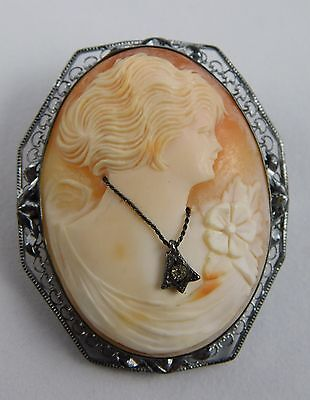 ANTIQUE STERLING SILVER HAND CARVED CAMEO W/DIAMOND 1.75 x 1.4 INCHES 11.8 GRAMS