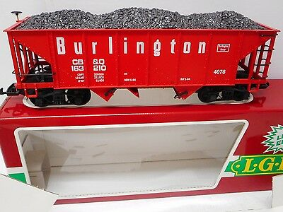 LGB 4076-M 01 Burlington Hopper Car with Coal Load G Scale Excellent