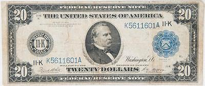 1914 $20 Federal Reserve Note Dallas, Texas Fr. 1007 Item#J505