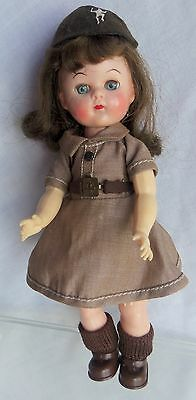 """NINETTE 8"""" BROWNIE Girl Scout doll, Awesome Belt, Hard Plastic 1950's"""